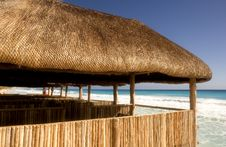 Free Bamboo Cabanas On The Beach Stock Photography - 4372302