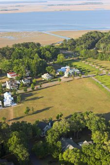 Aerial View Of Expensive Homes Stock Images