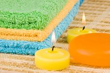 Free Towels Of Different Colors Soap And Candles Royalty Free Stock Photos - 4373538