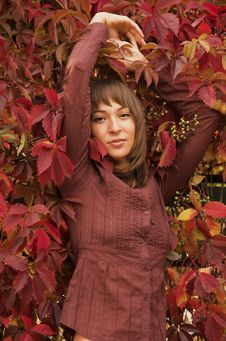 Free The Girl In Red Leaves Stock Image - 4374311