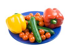 Set Of Vegetables On A  Plate Isolated Stock Photography