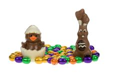 Cute Easter Bunny And Chick Royalty Free Stock Photos