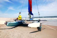 Free Catamaran On The Beach Stock Image - 4375491