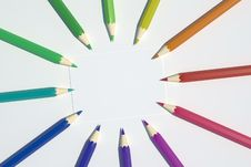 Free Colored Pencils In A Circle Royalty Free Stock Photography - 4376587
