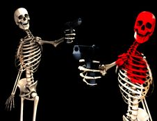 Skeletons And Guns 10 Stock Photo