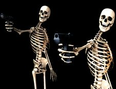 Skeletons And Guns Stock Images