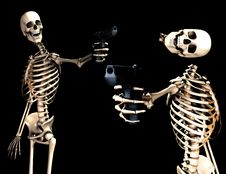 Free Skeletons And Guns Shoot Stock Photography - 4377562