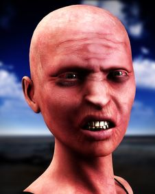 Free Bald Zombie Women Stock Image - 4377751