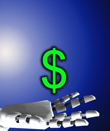 Free Robo Hand And Dollar Royalty Free Stock Photos - 4377808
