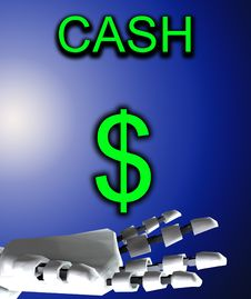 Free Robo Hand And Dollar Stock Image - 4377811