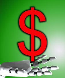 Free Robo Hand And Dollar Stock Images - 4377814