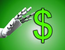 Free Robo Hand And Dollar Royalty Free Stock Image - 4377816