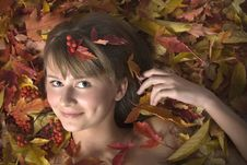 Free Autumn Leaves Girl Royalty Free Stock Image - 4379796
