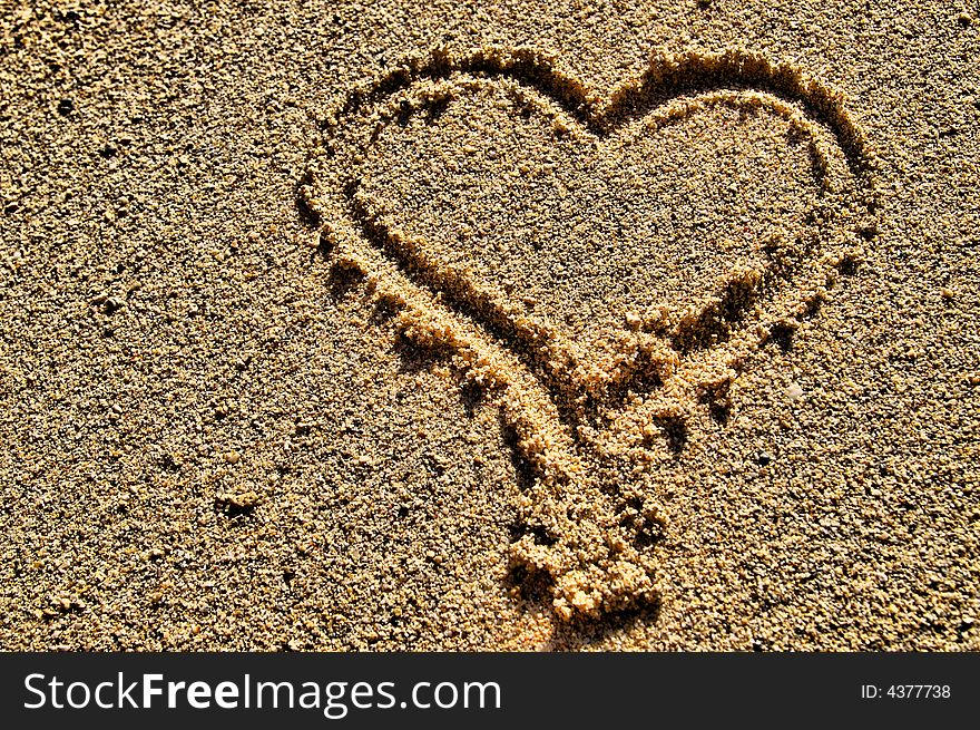 Heart Shape Symbol Drawn In Sand Free Stock Images Photos