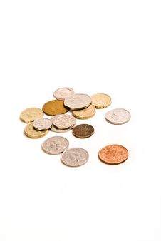 Money And Coins - White Background Stock Photography