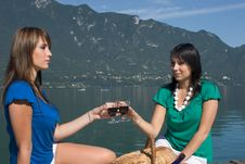 Woman Driking Some Wine Stock Images