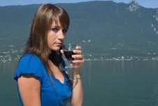 Woman Driking Some Wine Royalty Free Stock Photos