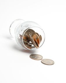 Free Coins In A Glass Stock Photography - 4380952