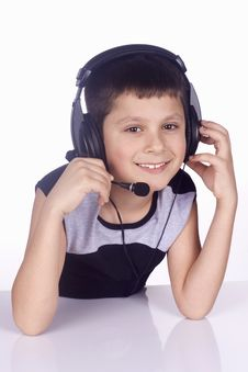 Free Young Boy And Headset Stock Photo - 4381400
