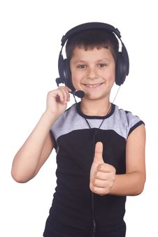 Free Young Boy And Headset Royalty Free Stock Photos - 4381808