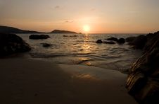 Sunset At Ocean Stock Photo