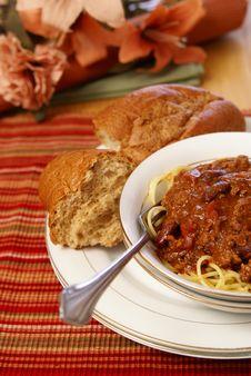 Chili And Spaghetti Stock Photos