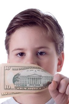 The Little Boy Covers The Person With Denomination Stock Photography