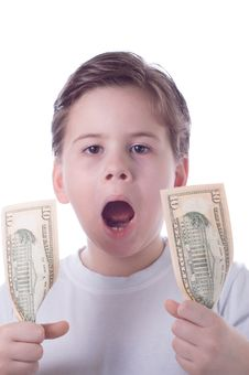 Free The Little Boy Holds Dollars In Hands And Shouts Stock Photo - 4383960