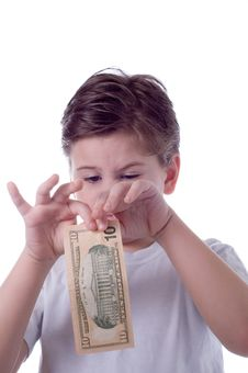 Free The Little Boy Is Going To Tear A Denomination Royalty Free Stock Photography - 4383967