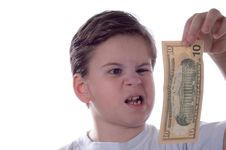 Free The Boy Looks At Money Stock Photo - 4383970