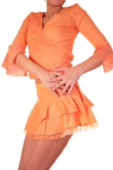 Free Girl In Orange Dresses Royalty Free Stock Photos - 4385718