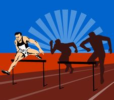 Free Athlete Jumping Hurdles Stock Image - 4386091