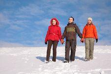 Free Three Friends Walk On Snow 2 Stock Image - 4386661