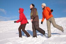 Free Three Friends Walk On Snow Stock Photography - 4386742