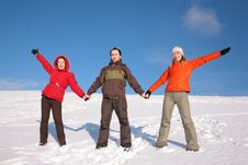 Free Three Friends Stand On Snow Stock Photos - 4386753