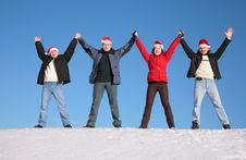 Free Four Friends In Santa Claus Hat Royalty Free Stock Photo - 4387055