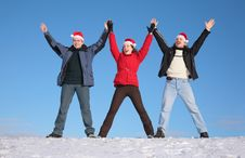 Free Three Friends In Santa Claus Ha Royalty Free Stock Photography - 4387067