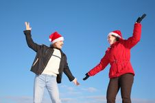 Free Couple Dance In Santa Claus Hats Royalty Free Stock Photography - 4387107