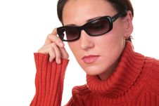 Young Woman In Dark Glasses Royalty Free Stock Image