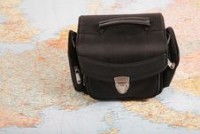 Free Black Bag On Map Royalty Free Stock Photos - 4387638
