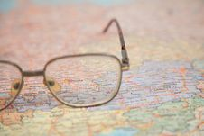 Free Close-up Of Glasses On Map Stock Photos - 4387723