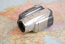 Video Camcorder On Map Royalty Free Stock Image