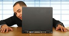 Free Business Man Looking Through Laptop Stock Photography - 4387752