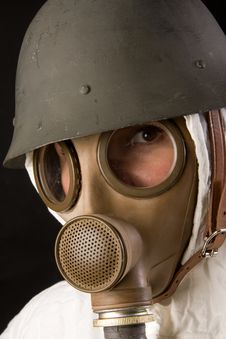Free Woman In Gas Mask And Helmet Stock Photos - 4389803