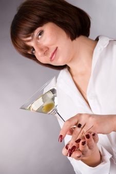 Free The Woman With A Glass Of Martini Stock Images - 4389994