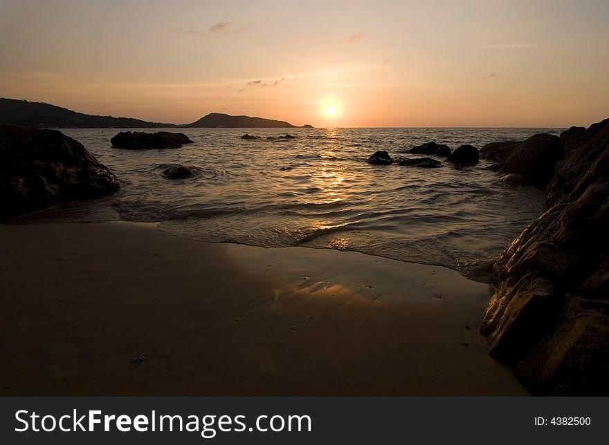 Sunset at ocean