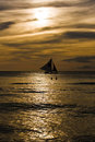 Free Swimming And Sailing At Sunset Stock Photography - 4391202