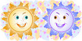 Free Two Cheerful Sun Royalty Free Stock Image - 4396366