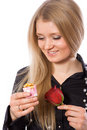 Free Pretty Girl Hold Red Rose And Gift Stock Photography - 4397622