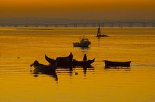 Sunset Boats Royalty Free Stock Photo